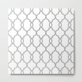 Hollywood Regency Trellis Pattern 522 gray Metal Print