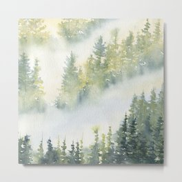 Misty Fog in Pine Forest Metal Print