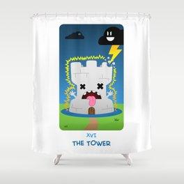 The Chibi Tarot - XVI The Tower Shower Curtain