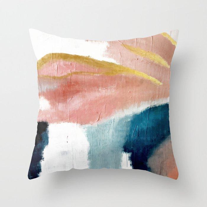 Exhale: a pretty, minimal, acrylic piece in pinks, blues, and gold Deko-Kissen