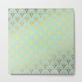 Art Deco Mermaid Scales Pattern on aqua turquoise with Gold foil effect Metal Print
