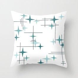 Mid Century Modern Stars (Teal) Throw Pillow