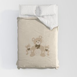 Teddy Bears Triplet - Beige Comforters