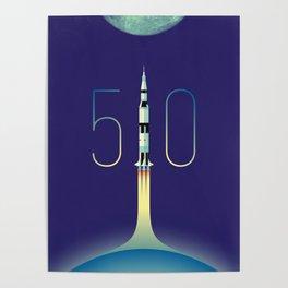 Apollo 11 Saturn V 50th anniversary Poster