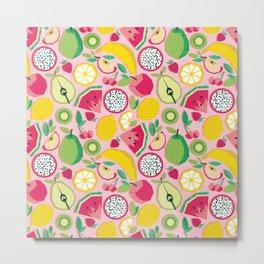 Paper cut geo fruits // pink background multicoloured geometric fruits Metal Print