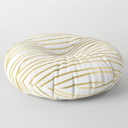 Small simply uneven luxury gold glitter stripes on clear white - horizontal pattern Floor Pillow