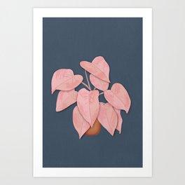 Big Pink Leafy Houseplant Art Print