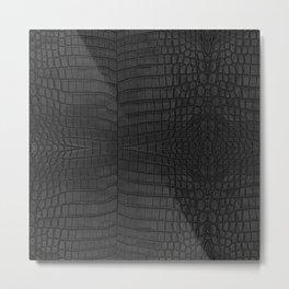 Black Crocodile Leather Print Metal Print