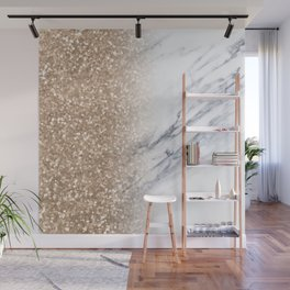 Bronze Copper Gold Sparkles White Gray Marble Concrete Luxury IV Wall Mural