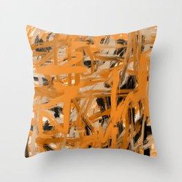 Orange & Taupe Abstract Throw Pillow