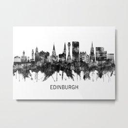 Edinburgh Scotland Skyline BW Metal Print