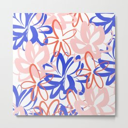 Lotus Garden Abstract Painted Floral Pattern in Bright Blue, Coral, and Pink on White Metal Print