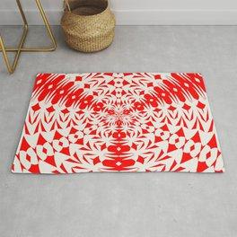 Star White And Red Geometric Shape Kaleidoscope Rug