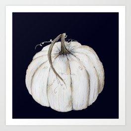 White pumpkin on navy Art Print