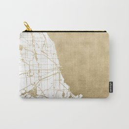 Chicago Gold and White Map Carry-All Pouch