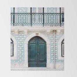 The green door | Lisbon Portugal architecture | Fine art travel photography print Throw Blanket