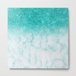 Robin's Egg Blue Glitter Fading marble Metal Print