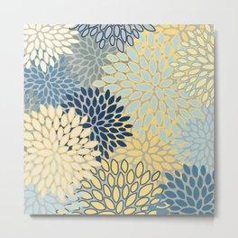Floral Print, Yellow, Gray, Blue, Teal Metal Print