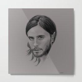 Jared Leto Digital Portrait grey LLFD Metal Print