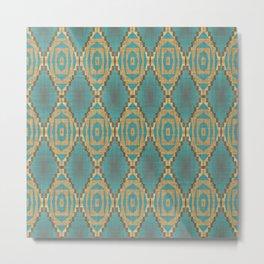 Teal Turquoise Khaki Brown Rustic Mosaic Pattern Metal Print