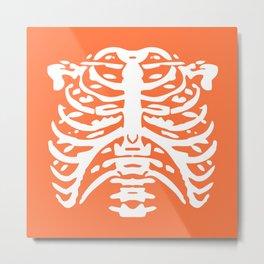 Human Rib Cage Pattern Orange 2 Metal Print