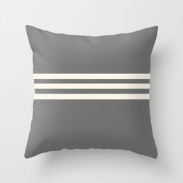 Grey Solid with Treble Ivory Stripes Minimalist Color Block Pattern Throw Pillow