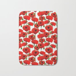 Red Poppy Pattern Bath Mat