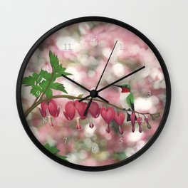ruby-throated hummingbird on bleeding heart (with bokeh) Wall Clock
