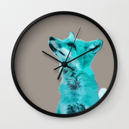 FOX, BLUE FOX, FOX, BLUE FOX, FOX FACE, FOX IN BLUE, WINTER FOX, LITTLE FOX, FOX IN SNOW Wall Clock
