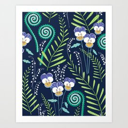 Love-in-idleness - violet Art Print