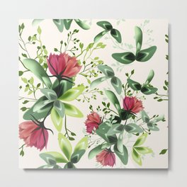 Fashion textile floral vector pattern with rustic clover flowers Metal Print