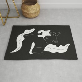 Girl with White Cat and Plants / Line Art Rug