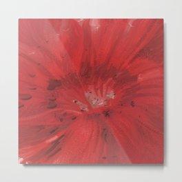 Digital Red Flower Painting Metal Print