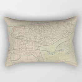 Topographical map of the western part of the Bronx, north of Spuyten Duyvil Van Cortlandt Park Rectangular Pillow