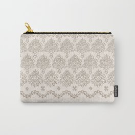 "Damask ""Cafe au Lait"" Chenille with Lacy Edge Carry-All Pouch"