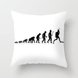 Evolution Of Man And Diving Throw Pillow