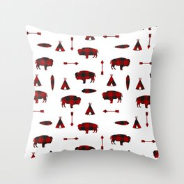 Buffalo Tribe // Red Check Throw Pillow