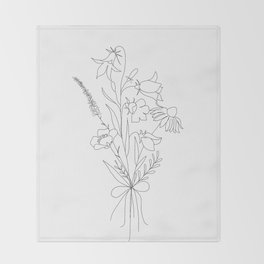 Small Wildflowers Minimalist Line Art Throw Blanket