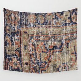 Vintage Woven Navy Blue and Tan Kilim  Wall Tapestry