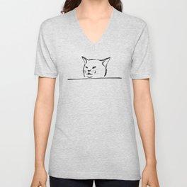Confused cat meme drawing Unisex V-Neck