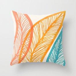 Tropical Flora - Retro Palette Throw Pillow