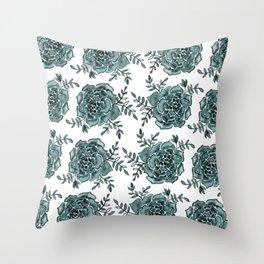 Watercolor houseleek - teal Throw Pillow