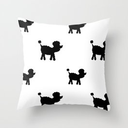 Poodle dog silhouette repeating design Throw Pillow