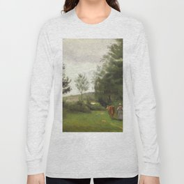 """Jean-Baptiste-Camille Corot """"Ville d'Avray, peasant woman walking with her cow"""" Long Sleeve T-shirt"""