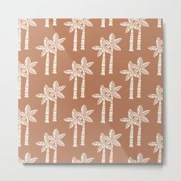 Palm Tree Pattern Brown Beige Metal Print