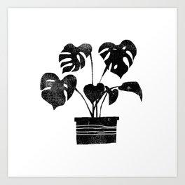 House plant linocut zen yoga black and white minimalist art prints for home Art Print
