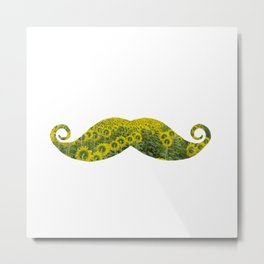 Moustache Sunflowers Metal Print