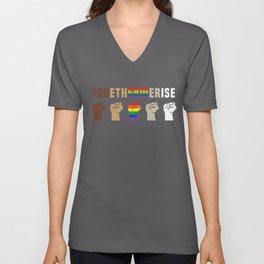 Black Lives Matter Together We Rise Equality Shirt Unisex V-Neck