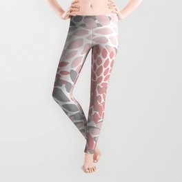 Floral Pattern, Coral Pink and Gray Leggings