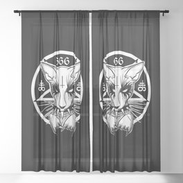 Black Metal Cat Sheer Curtain